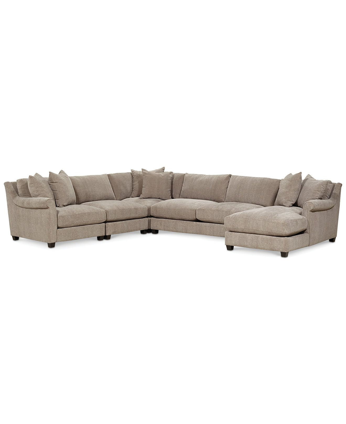 Westen fabric 5 piece chaise sectional couches s