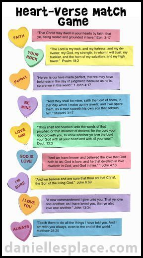 candy heart and bible verse bulletin board display for valentines day sunday school lesson matching game - Bible Verse For Valentines Day