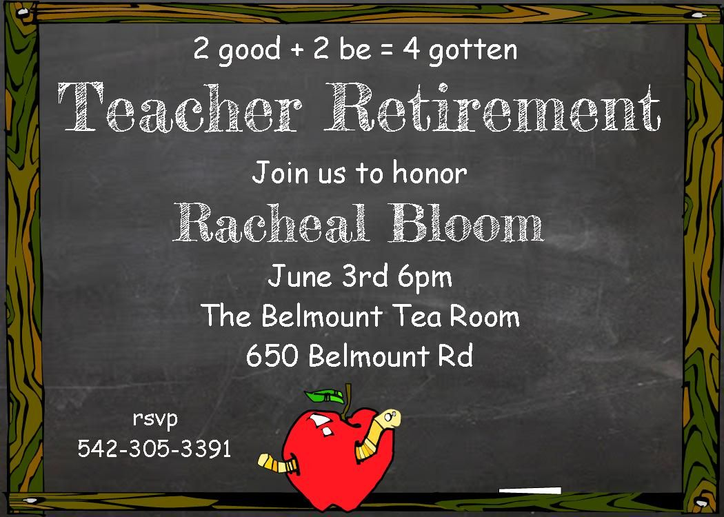 Customized teacher Retirement party invitations- chalkboard ...