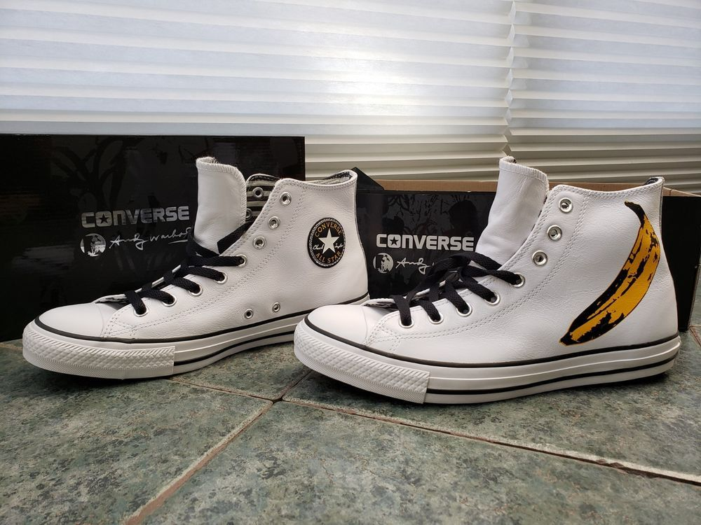 3450cd281171 CONVERSE WHITE Leather Hi-Top Andy Warhol Banana shoes NEW LIMITED EDITION  9.5  fashion  clothing  shoes  accessories  unisexclothingshoesaccs ...
