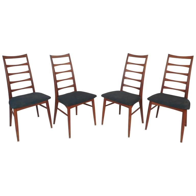 Set Of Four Mid Century Modern Ladder Back Dining Chairs By Niels