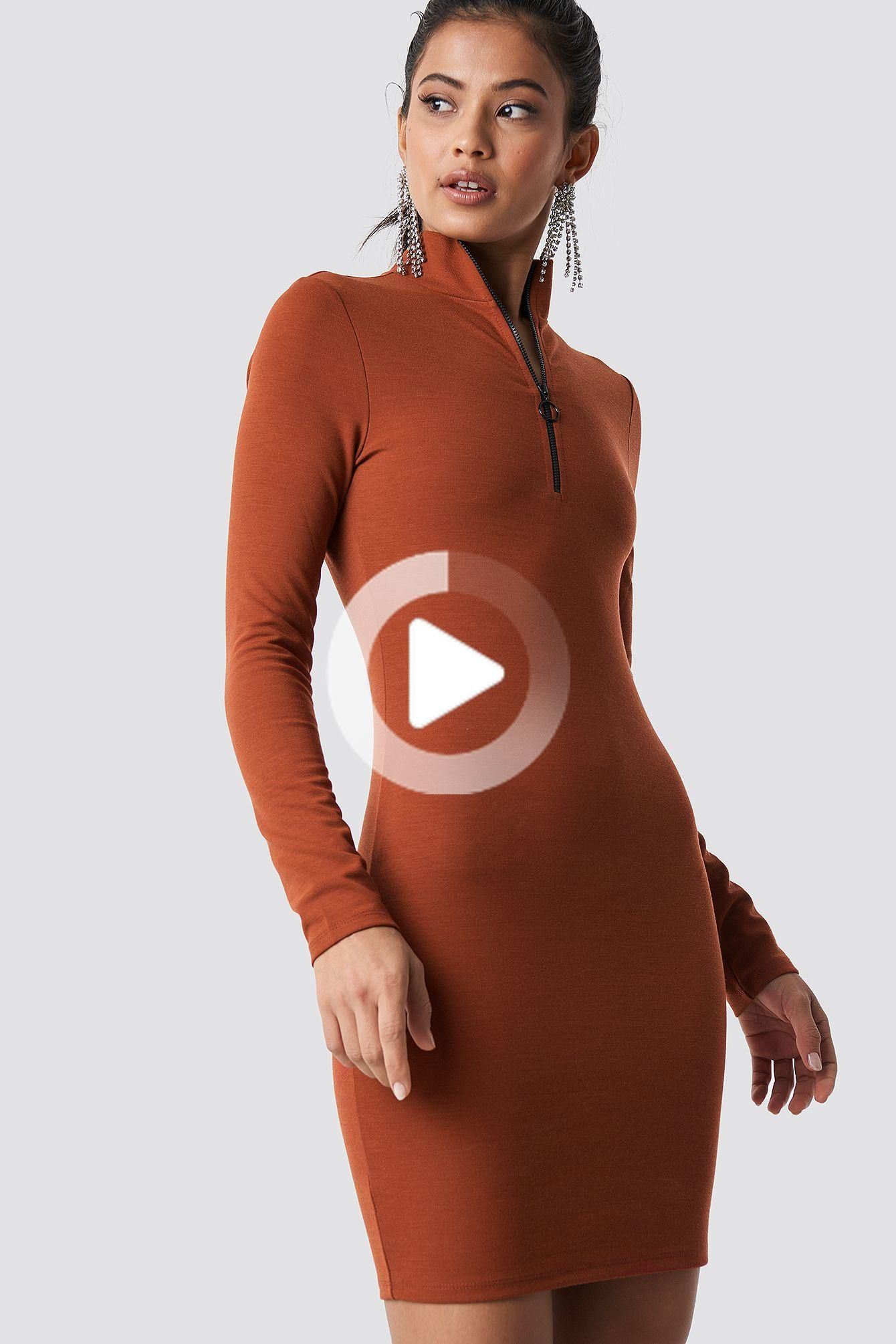 This dress by Hanna Friberg x NA-KD has a mini length, a turtleneck with a zipper detail and an elastic jersey material. #cuteoutfits