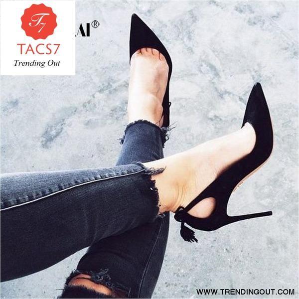 Flock Women Pumps Elegant Bow-Knot Tassel High Heels Slip-On Wedding Lady Shoes