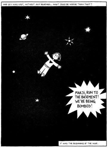 Once Marjane Finds Out Uncle Anoosh Is Dead She Feels Lost She Draws A Picture Of Herself Floating Through Space Anoos Pictures To Draw Graphic Novel Prints