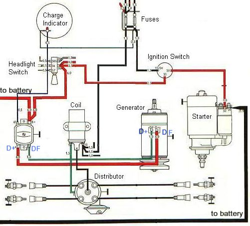 ignition and charging system diagram baja bugs pinterest rh pinterest com 12 Volt Solenoid Wiring Diagram 12 Volt Regulator for Generator
