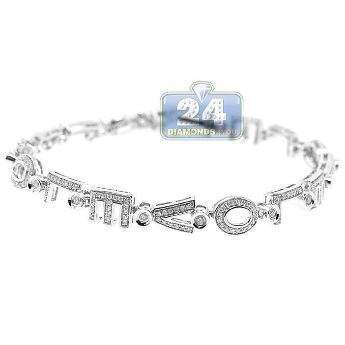 Womens Diamond Love Sign Tennis Bracelet 14k White Gold 1