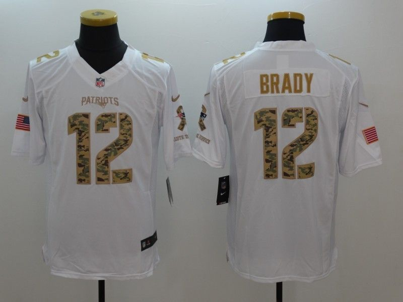 New England Patriots 12 Tom Brady White Salute To Service Limited Jersey c4aa40f9c