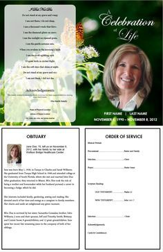 Allison Funeral Program Template 5 Colors Creative Memorials