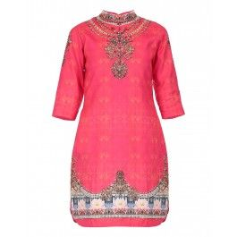 Pink Kurta Set with Floral Print and Embroidery