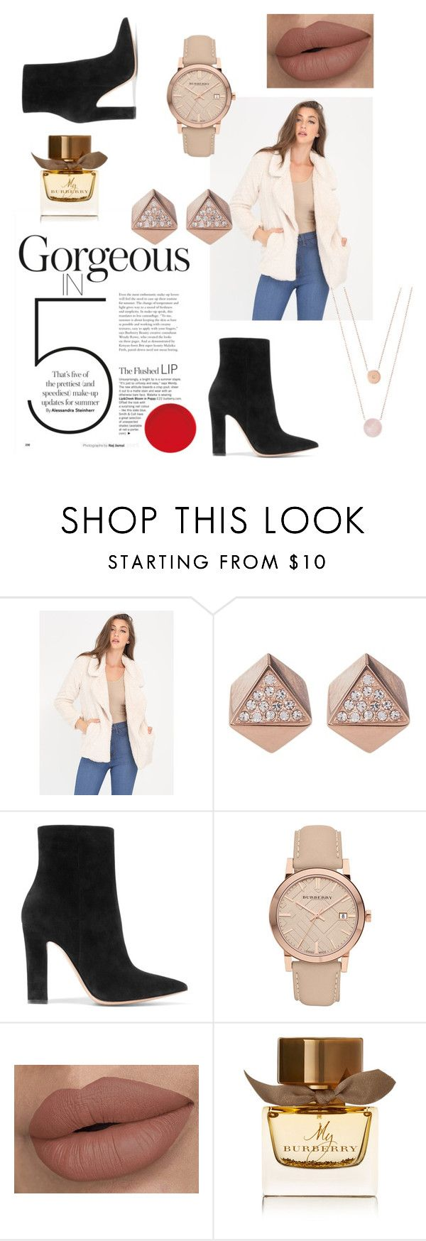 """""""Rose Gold Fun"""" by midkiffemily on Polyvore featuring FOSSIL, Gianvito Rossi, Burberry and Michael Kors"""