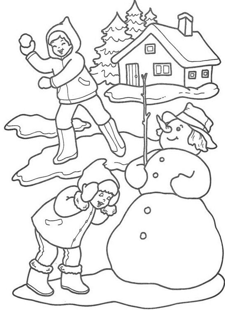 Playing In Winter Coloring Pages Christmas Coloring Pages