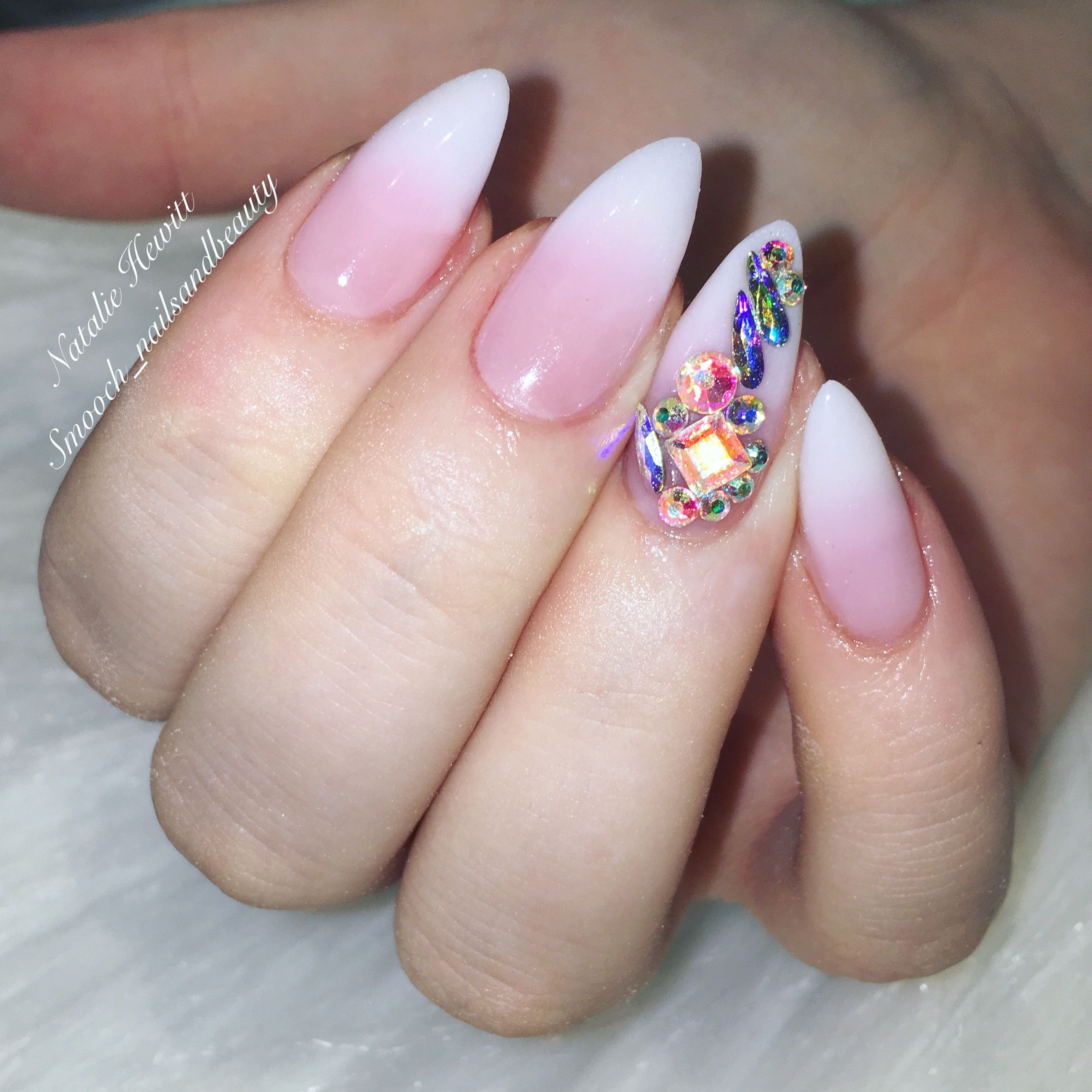 French Ombre & Swarovski Nails #frenchombre #ombre #ombrenails ...