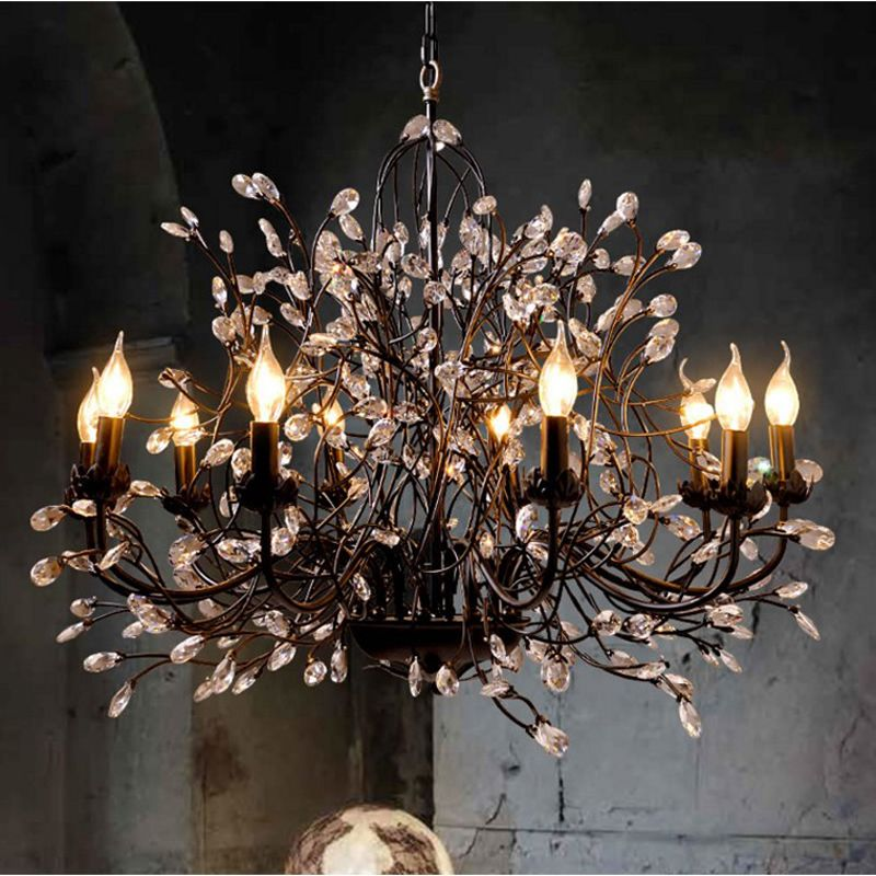 Retro Wrought Iron Chandelier Crystal Antique Bronze Iron Crystal