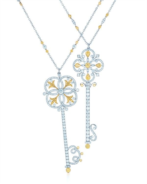 Tiffany co key to your heart jewelry pinterest tiffany key tiffany keys with diamonds and yellow diamonds in platinum and 18 karat gold from left circle key pendant and ornate key pendant aloadofball Gallery