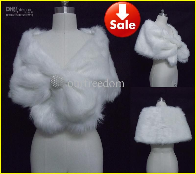 Wholesale White Faux Fur Pearl Shrug Cape Stole Wrap With Shawl Wedding Bridal 1051 Inches, Free shipping, $15.68-20.16/Piece | DHgate
