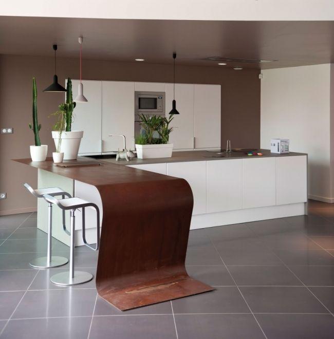 plan de travail en acier corten cuisine kitchen pinterest architecture design. Black Bedroom Furniture Sets. Home Design Ideas