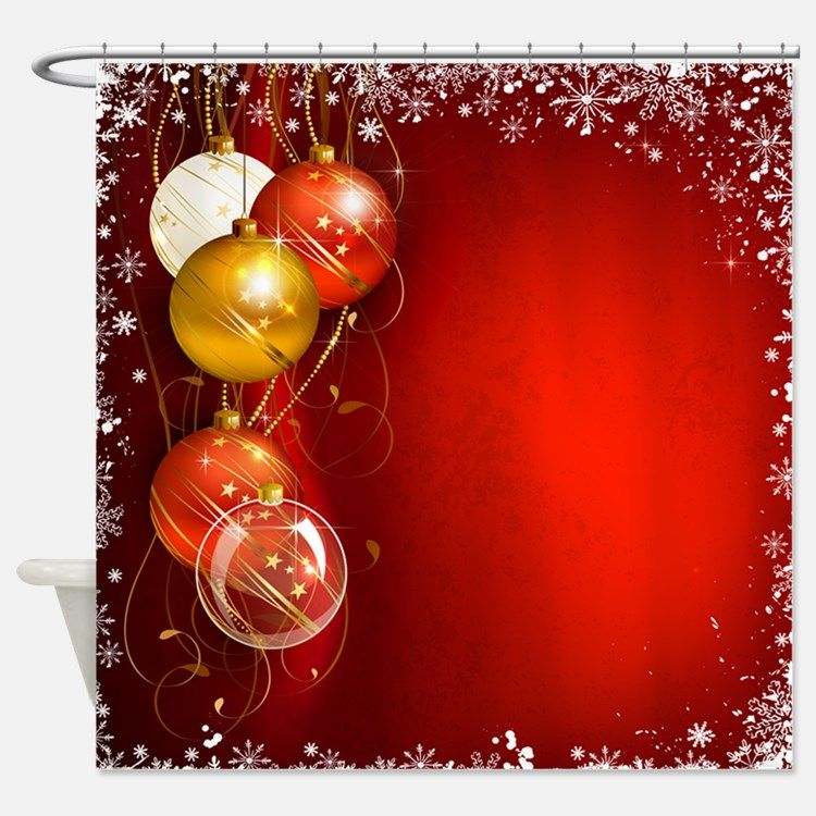 Christmas Ornaments Red Shower Curtain for | Bathroom | Pinterest ...