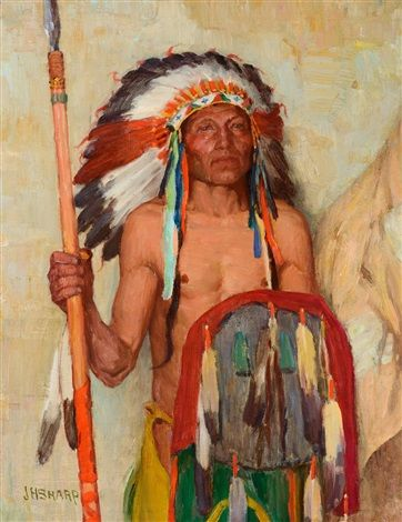 joseph henry sharp artist | Joseph Henry Sharp The War Chief 18 x 14 in. (45.7 x 35.6 cm.)