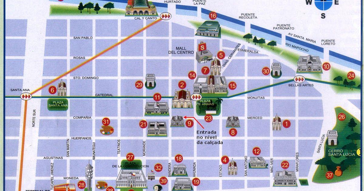 Santiago De Chile Mapa Turistico.Mapa Turistico De Santiago Do Chile Chile Viagem Mapa