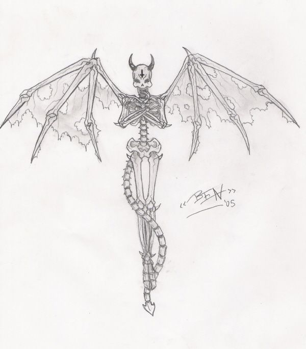 Demon Drawing   Demon Skeleton By ~ DemiDemiDemi   Art   Pinterest   Demon Drawings Skeletons ...