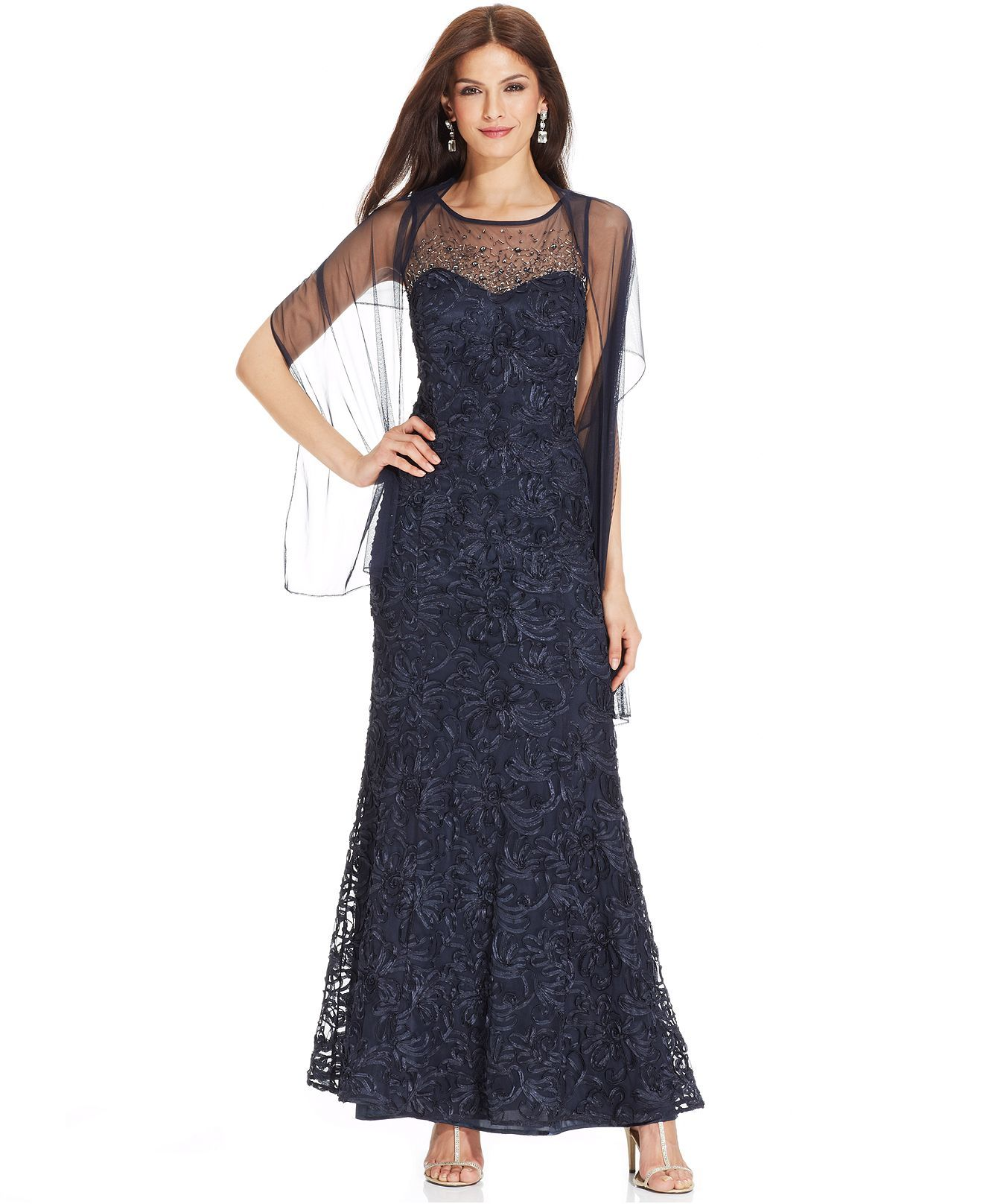 Ignite Beaded Illusion Embroidered Gown And Shawl Mother Of The