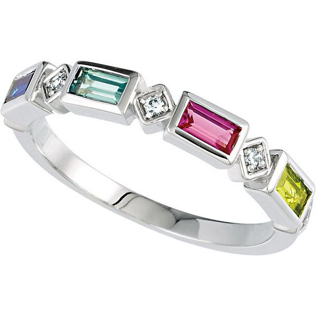 Mothers Ring With 4mm X 2mm Baguettes Choose Between 1