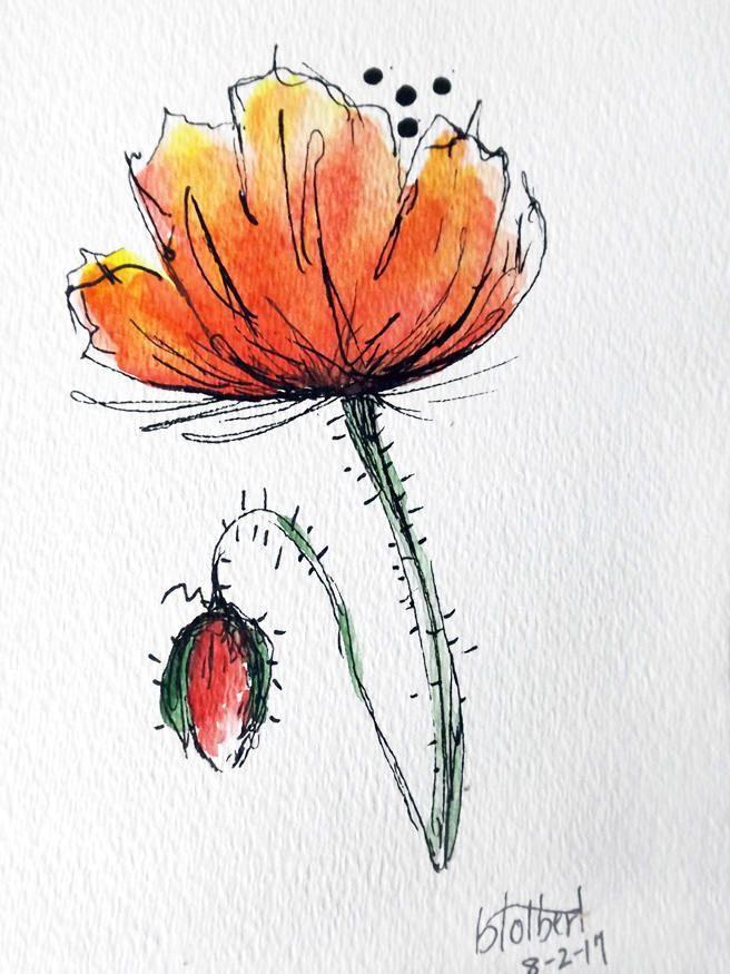 Poppy Flower Original Water Color Art Hand Painted Red Poppy Watercolorarts Aquarell Mohnblumen Wie Man Blumen Malt Und Wasserfarbenblumen