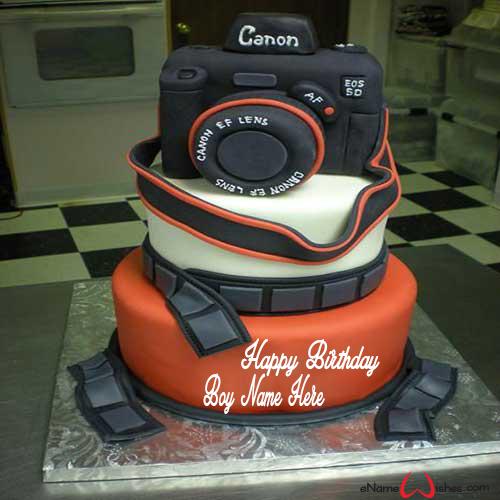 Write name on Awesome Camera Birthday Wish Name Cake with Name And