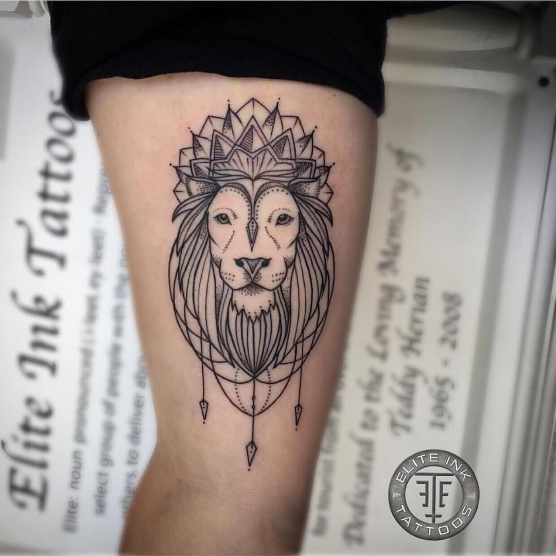 blackwork mandala lion tattoo by adam bartley elite. Black Bedroom Furniture Sets. Home Design Ideas