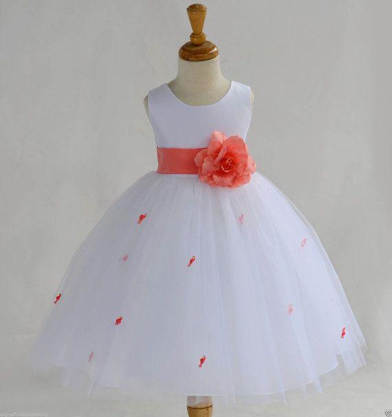 10a73da5e Blanco Coral Rosebud flor chica vestido faja por ekidsbridalusa ...