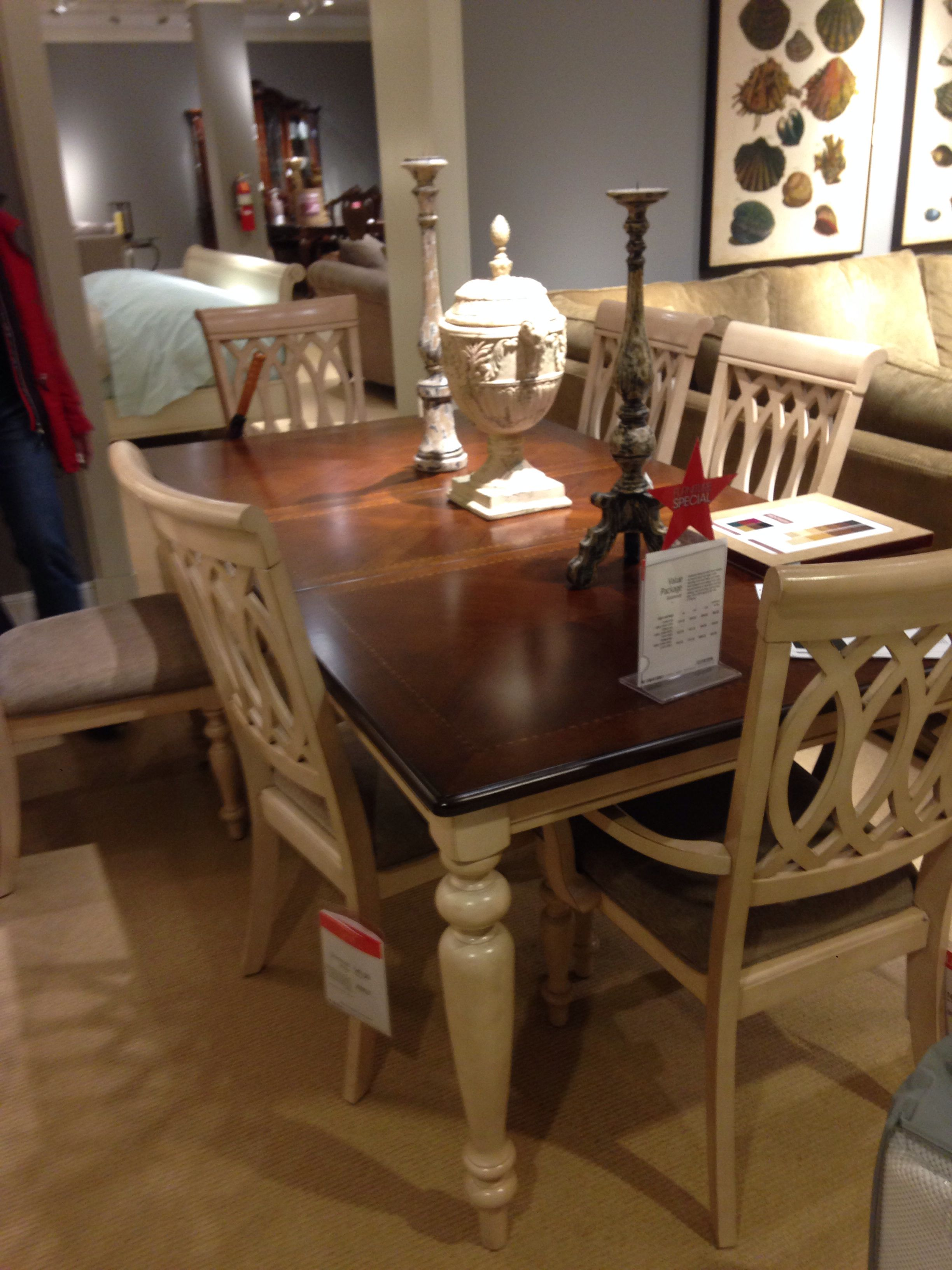 Dovewood Dining Set 2 Tone Cherry Wood Veneer And Antique White Macy S Furniture Gallery Paramus Macy Furniture Home Decor Dining