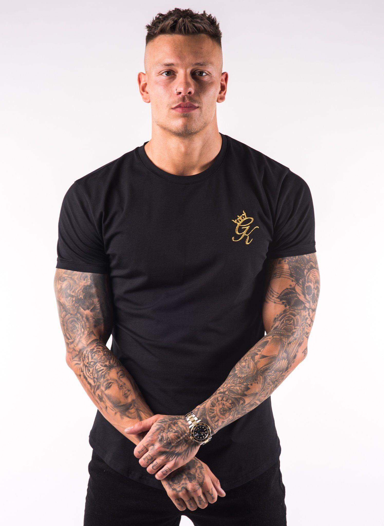 4a79a28dd2b GK Longline Fitted T-Shirt - Black Gold
