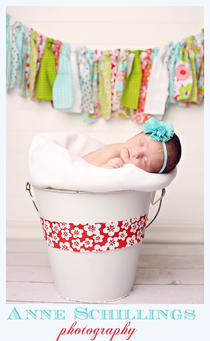 Anne Schillings Photography  newborn portraits  https://www.facebook.com/anneschillingsphotography  newborn girl headband flower teal banner vintage smile coral teal aqua brother siblings family  pink blue studio blanket white sleep sleepy face cute child portrait bucket pail ribbon red white