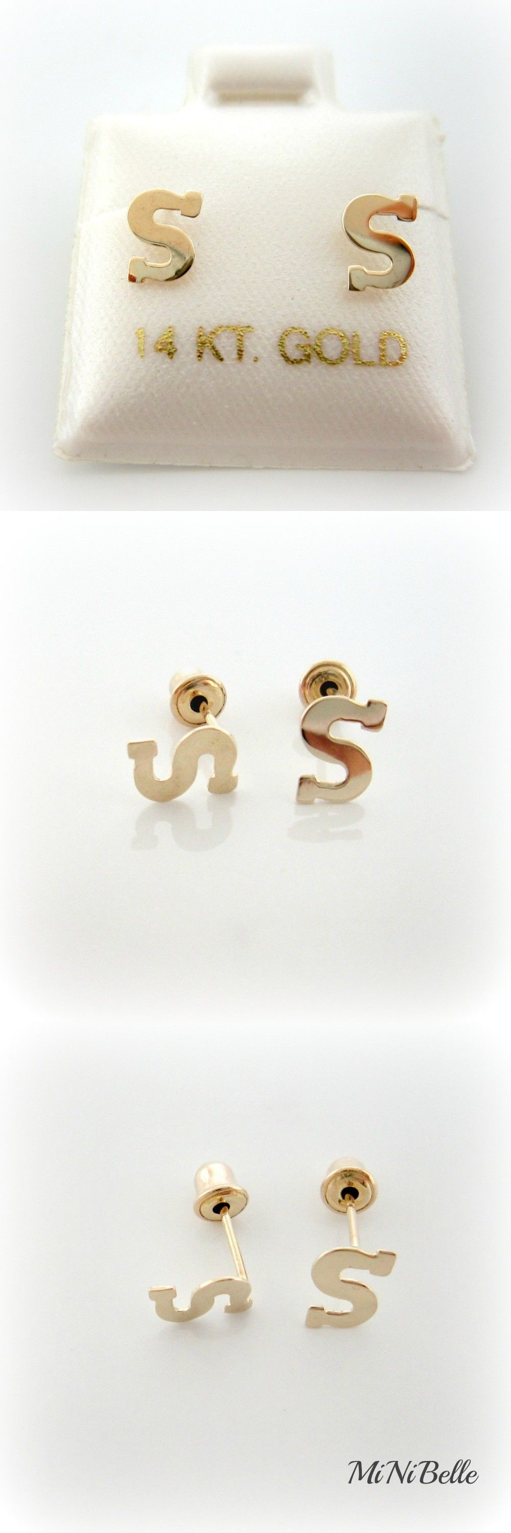 studs pin flower yellow gold kid white earrings cz stud baby