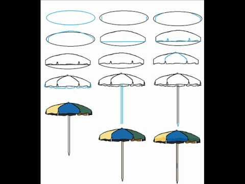 How To Draw A Beach Umbrella Easy Simple Step By Step Drawing