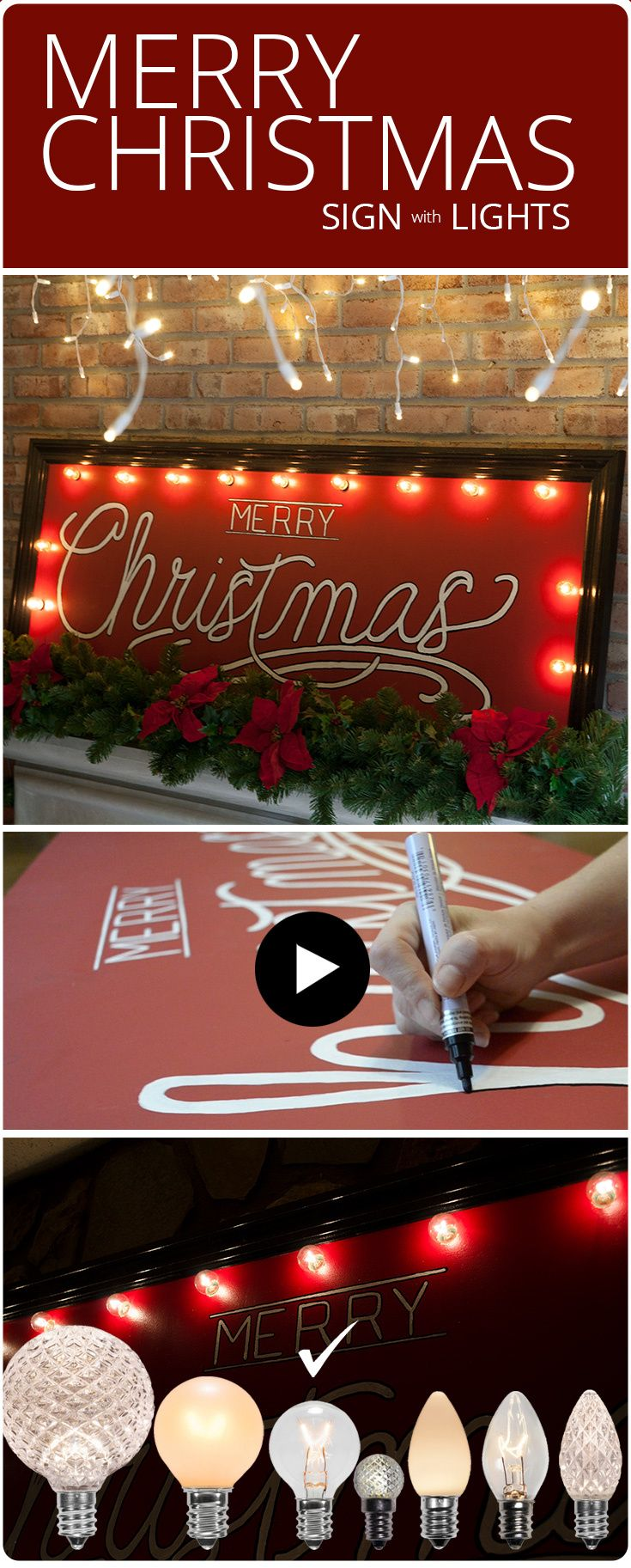 DIY Merry Christmas Sign with Marquee Lights Merry