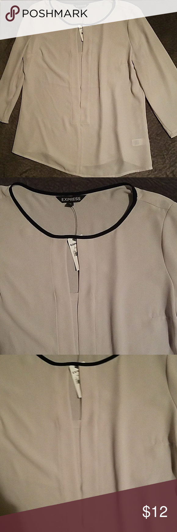 Express cream dress blouse shirt small Made of 100% polyester, 3/4 sleeves, black trim along collar. Open v in the front with an open pleat. New with tag Express Tops Blouses