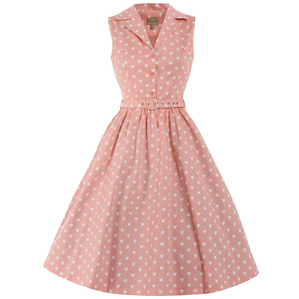 Matilda Pink Heart Print Shirt Dress | Vintage Dresses - Lindy Bop ...