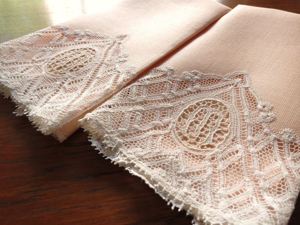 LOVELY Antique Pair Fine Linen Towels MONOGRAM  M  in NEEDLE LACE, Brussels Lace