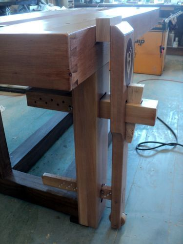 I'm fascinated by this inexpensive and effective way of building a leg vise. Could also be used with Benchcrafted Criss Cross if you want to spend the money. By the way, it is not electric in spite of the cord!