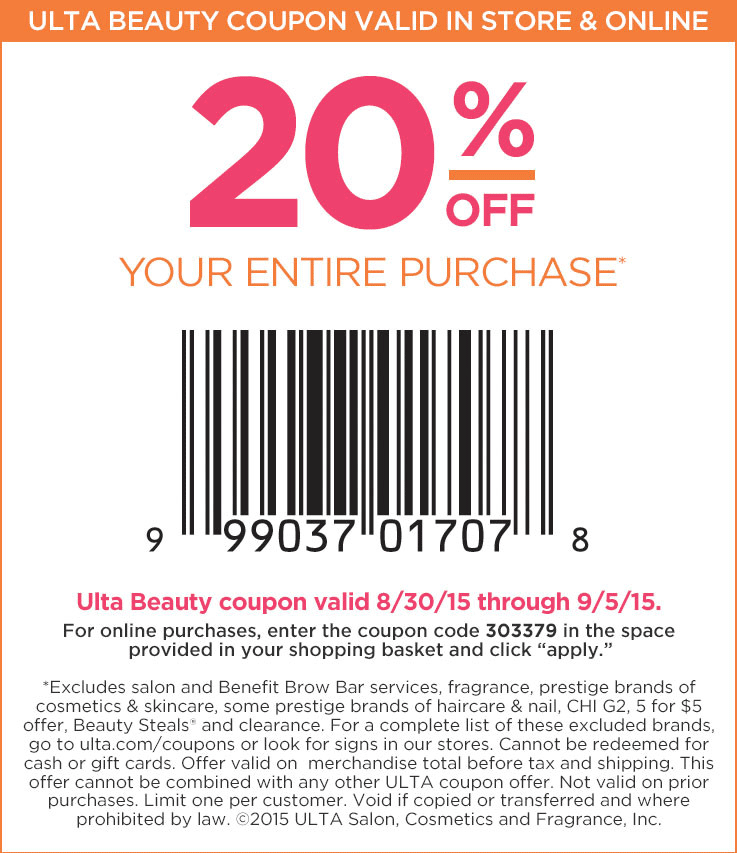 20 Off Everything At Ulta Or Online Via Promo Code 303379 Beauty Coupons Ulta Coupon Ulta