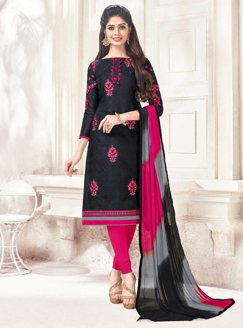 3d84f5286f Black Cotton Kameez With Churidar 117552 | Churidar Salwar Suit ...