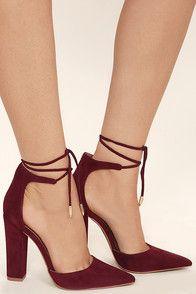 Angela Burgundy Suede Lace-Up Heels