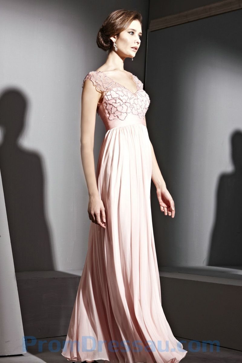 pale pink evening gowns   Chiffon V Neck Pale Pink Evening and ...