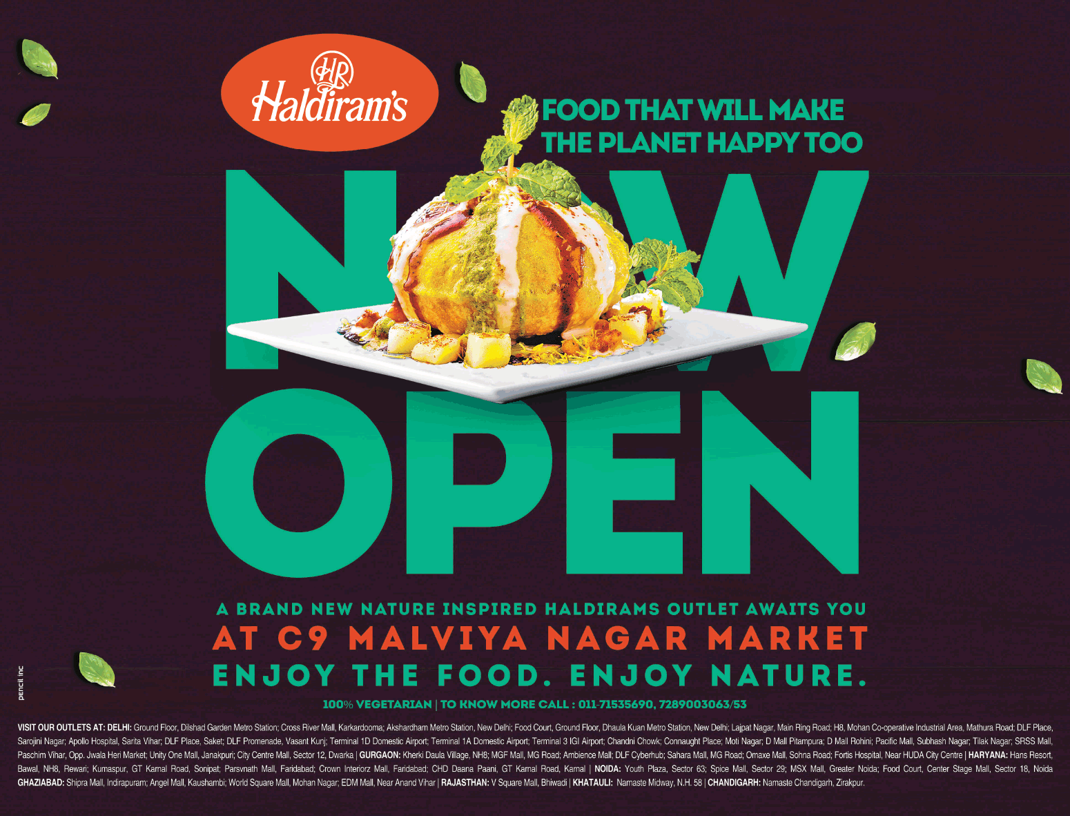 Haldirams Food That Will Make The Planet Happy Too Now Open Ad Delhi Times Check Out More Hotels Restaurants Advertiseme Food How To Make Hotel Restaurant