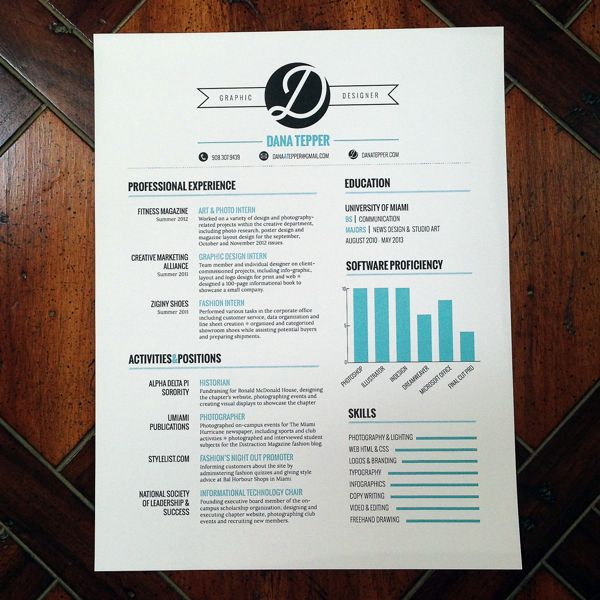 Resume By Dana Tepper Via Behance Inspiration Pinterest