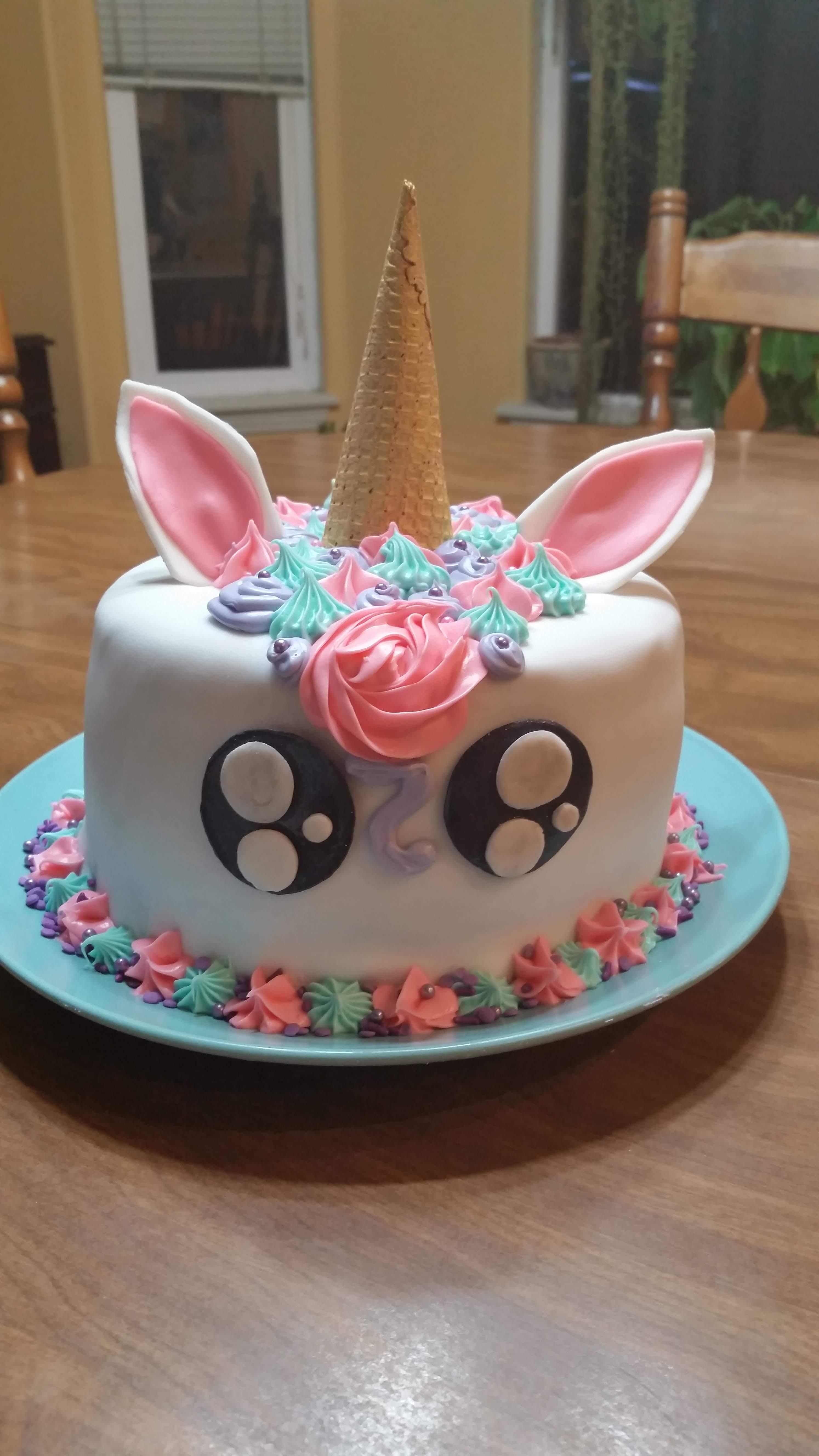 Fine Unicorn Cake I Made For A 9 Year Olds Birthday Party With Images Funny Birthday Cards Online Elaedamsfinfo