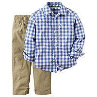 cab5812a2 Blue Gingham Shirt and Khaki Pants Set - Toddler Boys 2t-5t - Carter's®  2-pc. Blue Gingham Shirt and Khaki Pants Set - Toddler Boys 2t-5t