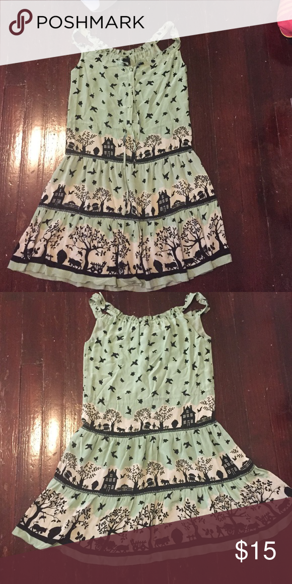 """Brand: anthropologie.  Size: 6 Brand: anthropologie.  Size: 6. Mint green """"the birds"""" summer dress. You be you and layer it in the winter. Anthropologie Dresses Midi"""