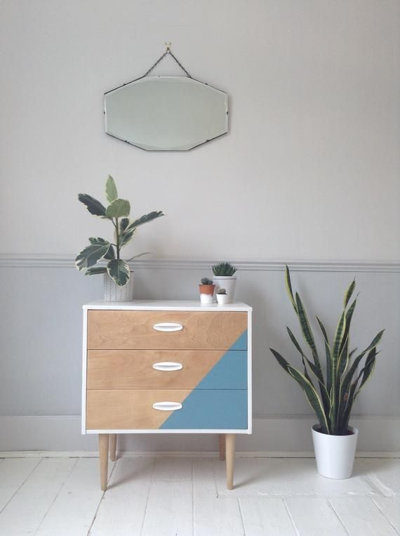 Items similar to Mid Century Modern - retro - hand painted - geometric design - bedroom furniture - chest of drawers on Etsy